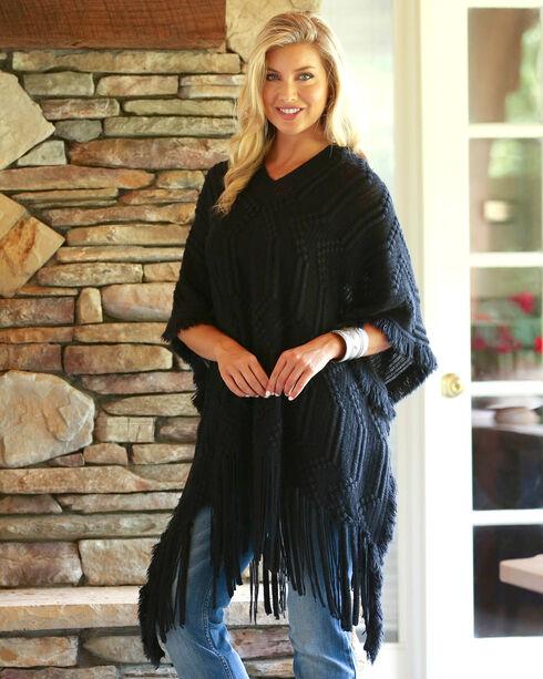 Wrangler Women's Black Sweater Poncho , Black, hi-res