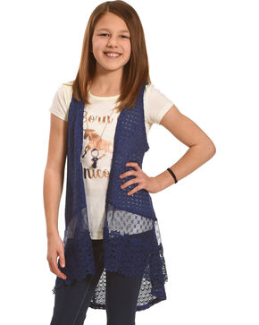 Shyanne Girls' Born a Unicorn Vest and Tee Set, Blue, hi-res