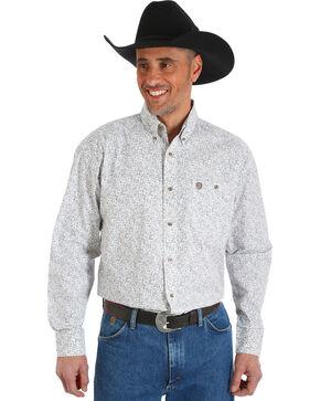 Wrangler George Strait Men's Chestnut Paisley Print Button Shirt, Tan, hi-res