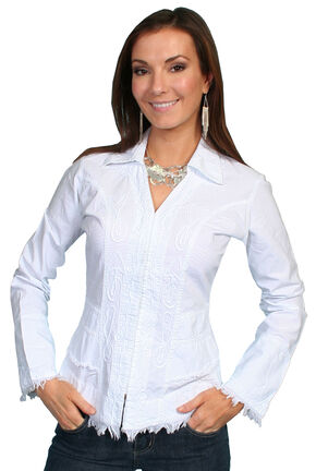 Scully Peruvian Cotton Frayed Edges Top, White, hi-res