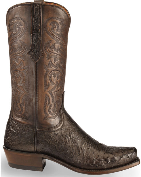 Lucchese Men's Handmade Dark Brown Nathan Smooth Ostrich Boots - Narrow Square Toe , Dark Brown, hi-res