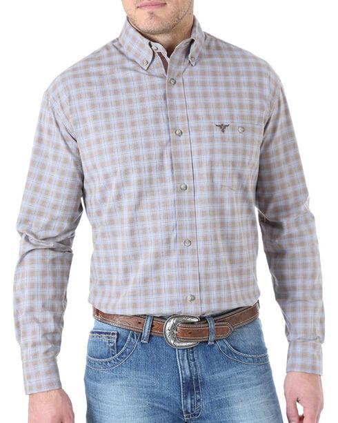 Wrangler 20X Men's Classic Plaid Long Sleeve Shirt, Brown, hi-res