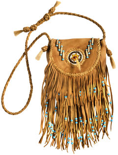Kobler Leather Khaki Rossette Fringe Crossbody Bag, , hi-res
