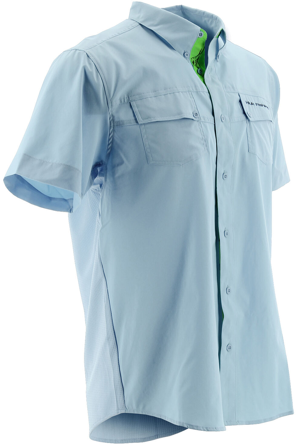 Huk Performance Fishing Men's Phenom Short Sleeve Shirt , Light Blue, hi-res