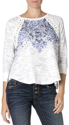 Miss Me Blue and White Print Long Sleeve Shirt, Blue, hi-res