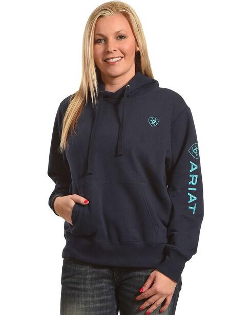 Ariat Women's Navy Tek Logo Hoodie , Navy, hi-res