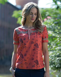 Ryan Michael Red Southwest Print Artisan Top, Red, hi-res