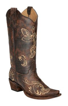 Circle G Distressed Bone Dragonfly Embroidered Boots - Snip Toe, , hi-res