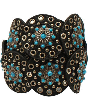 Nocona Women's Western Wide Concho Disk Belt, Black, hi-res