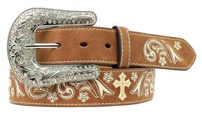 Nocona Floral Cross Embroidered Belt, Med Brown, hi-res