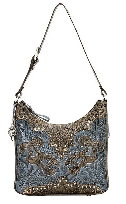 American West Annie's Secret Zip Top Shoulder Bag, Blue, hi-res