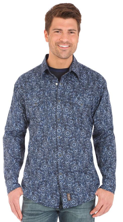 Wrangler Retro Men's Blue Print Long Sleeve Snap Shirt, Grey, hi-res