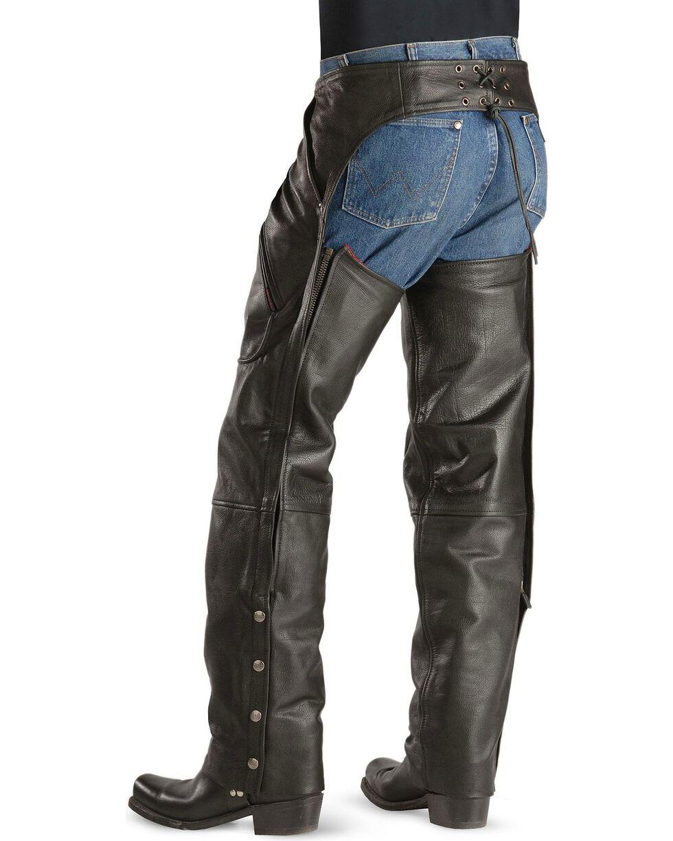 Milwaukee Motorcycle Gunslinger Leather Chaps, Black, hi-res