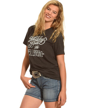 Cowgirl Justice Women's Whiskey Bent Tee, Black, hi-res