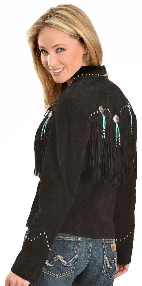 Scully Concho & Fringe Suede Leather Jacket, Black, hi-res
