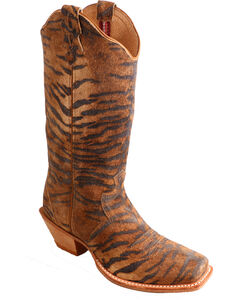 Twisted X Tiger Print Steppin' Out Cowgirl Boots - Square Toe, Tiger Print, hi-res