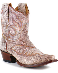Shyanne Women's Crackled Embroidered Booties - Snip Toe, , hi-res
