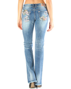 Grace in LA Women's Wild Flower Embroidered Jeans - Boot Cut , Light/pastel Blue, hi-res