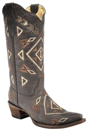 Corral Brown Aztec Cowgirl Boots - Snip Toe  , Brown, hi-res
