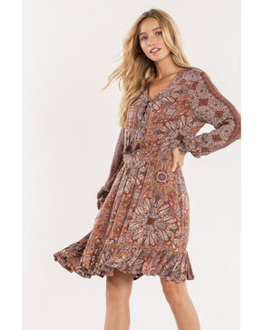 Miss Me Women's Sunflower Lace-Up Dress, Brown, hi-res