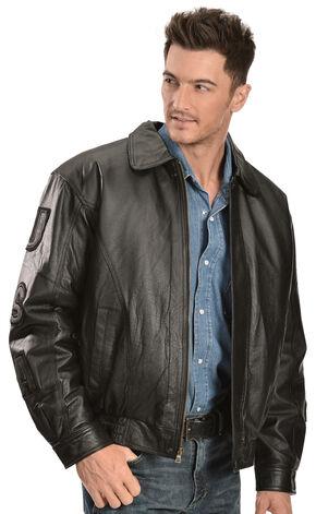 Vintage Leather Black USA Eagle Flag Jacket, Black, hi-res