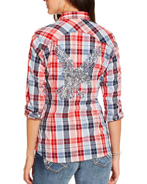 Ariat Women's Eagle Plaid Long Sleeve Western Shirt , Multi, hi-res