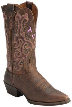 Justin Chocolate Puma Cowhide Stampede Cowgirl Boots - Snip Toe, , hi-res