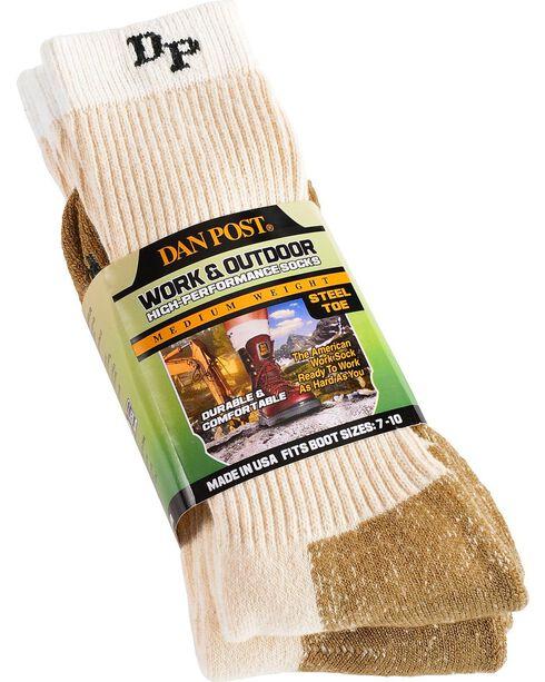 Dan Post Men's Medium Weight Work & Outdoor Steel Toe Performance Socks, Natural, hi-res