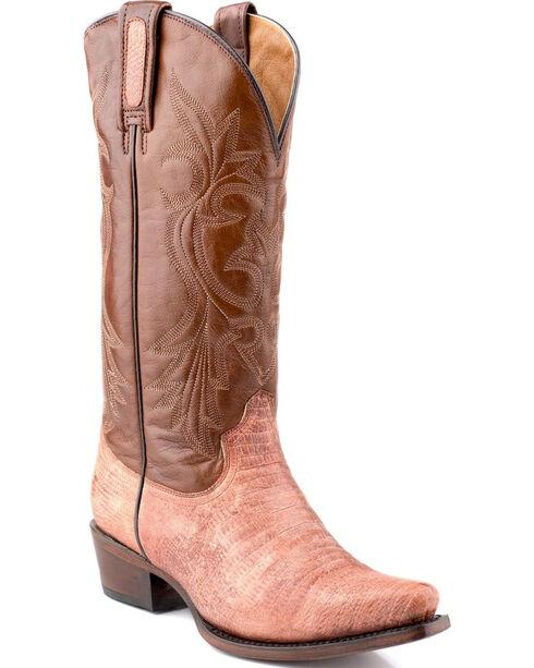Roper Rust Teju Lizard Print Cowgirl Boots - Snip Toe , Rust, hi-res