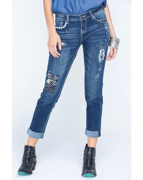 Grace in LA Women's Medium Blue Patchwork Boyfriend Jeans - Cuff, Medium Blue, hi-res