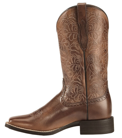Ariat Rich Brown Round Up Remuda Cowgirl Boots - Square Toe , Brown, hi-res