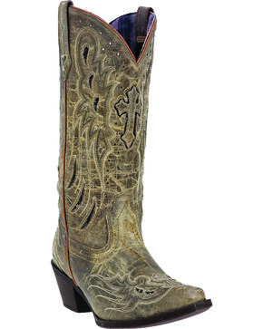 Laredo Women's Crosswing Studded Cowgirl Boots - Snip Toe, Taupe, hi-res