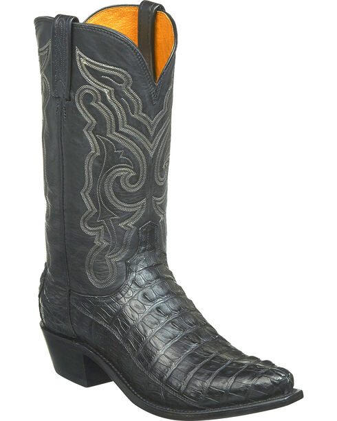 Lucchese Men's Franklin Hornback Caiman Tail Western Boots - Snip Toe, Black, hi-res