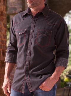 Ryan Michael Men's Black Diamond Stripe Jacquard Western Shirt, , hi-res