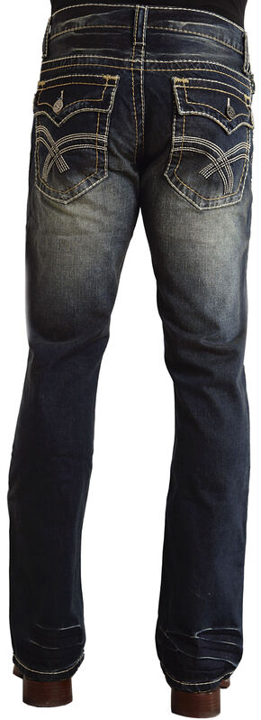 "Stetson Rock Fit Curved ""X"" Stitched Flap Pocket Jeans, Dark Stone, hi-res"