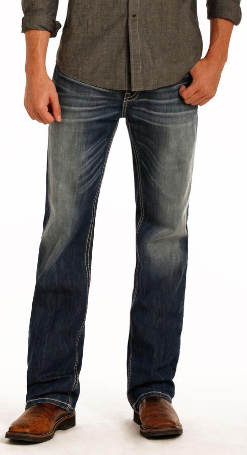 Rock & Roll Cowboy Men's Blue Double Barrel Reflex Jeans - Straight Leg , Blue, hi-res