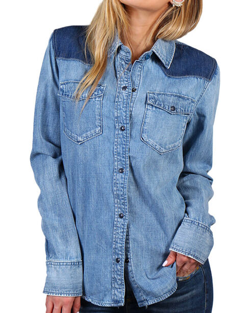 Driftwood Women's Aztec Embroidery Chambray Shirt, Light/pastel Blue, hi-res