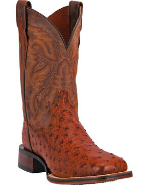 Dan Post Men's Alamosa Full Quill Ostrich Western Boots - Square Toe, Cognac, hi-res