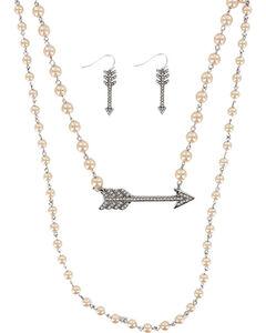 Shyanne Women's Rhinestone Arrow Jewelry Set , Silver, hi-res