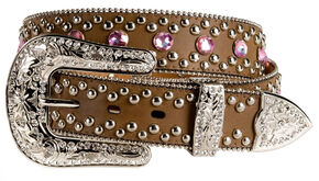 Blazin Roxx Pink Bling Belt, Brown, hi-res