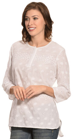 New Direction Sport Women's Hi-Lo White Henley Top, White, hi-res