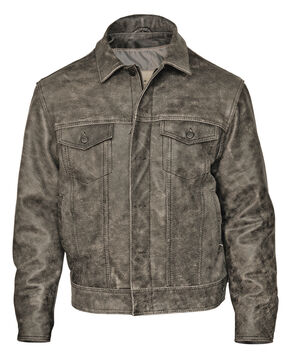 STS Ranchwear Men's Maverick Rustic Black Leather Jacket - 4XL, Black, hi-res