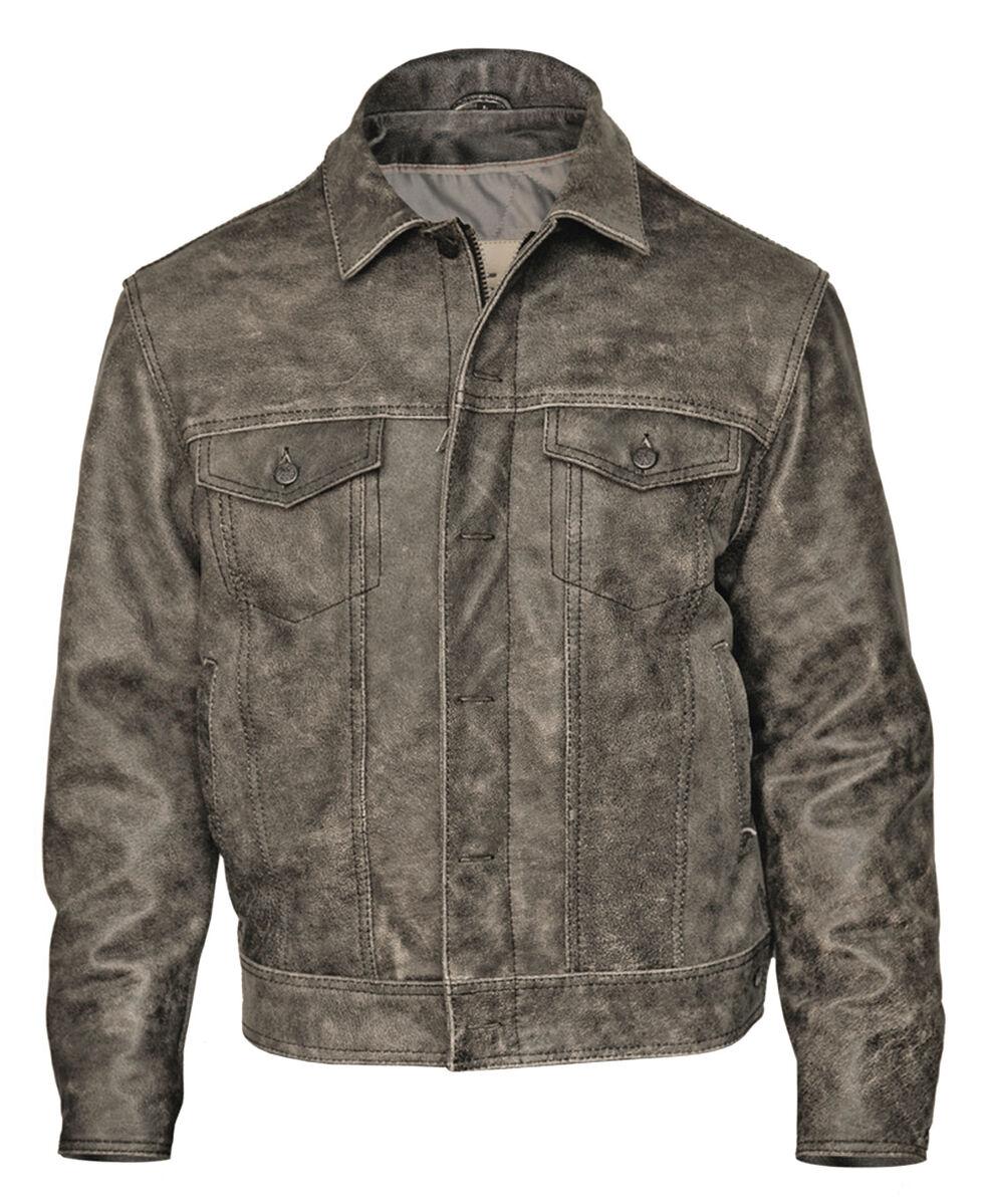 STS Ranchwear Men's Maverick Rustic Black Leather Jacket - 4XL, Black, hi-res