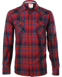 Levi's Men's Long Sleeve Flannel Plaid Shirt, Red, hi-res