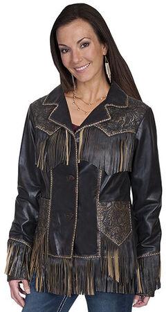 Scully Women's Fringe Tooled Leather Jacket, , hi-res