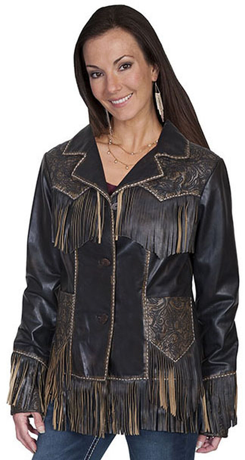 Scully Women's Fringe Tooled Leather Jacket, Brown, hi-res