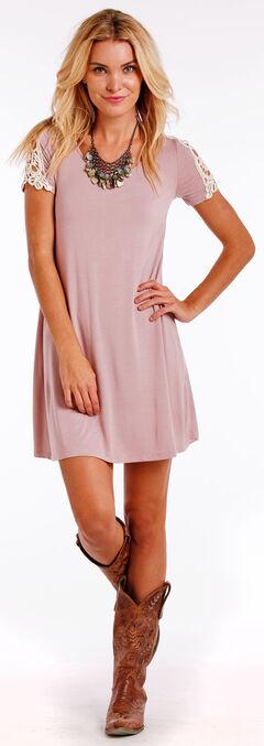 Panhandle Slim Women's Cap Sleeve Lace Inset Swing Dress , Pink, hi-res