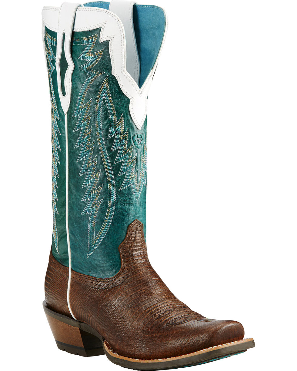 Ariat Chocolate Futurity Lizard Print Cowgirl Boots - Square Toe, , hi-res