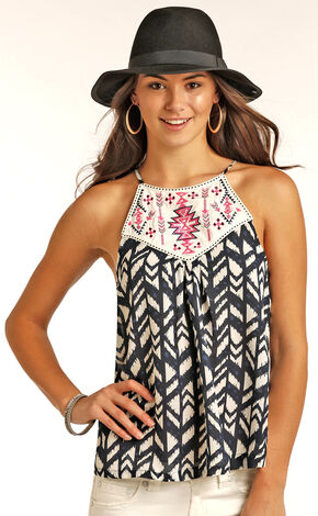 Panhandle Slim Women's Navy Sleeveless Printed Chiffon Top, Navy, hi-res