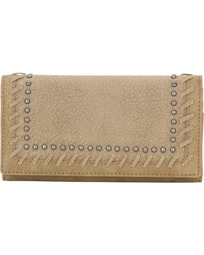 Bandana by American West Women's Guns and Roses Flap Wallet, Sand, hi-res